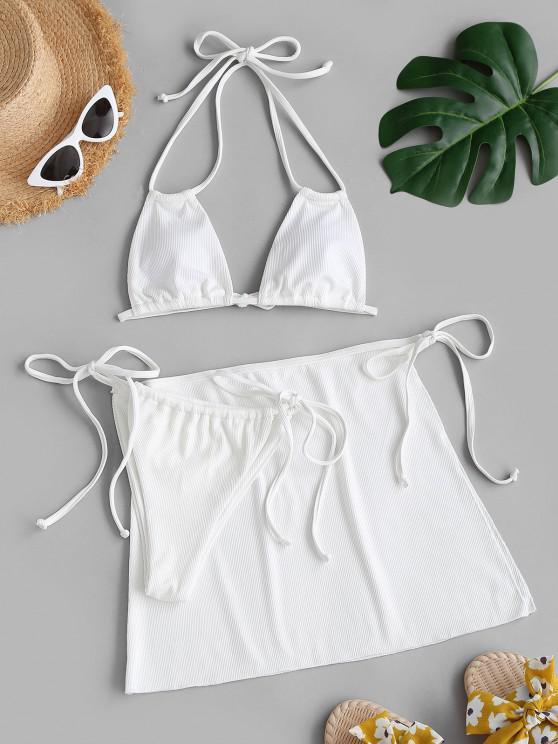 women ZAFUL Ribbed Tied Tanga Three Pieces Bikini Swimwear - WHITE S