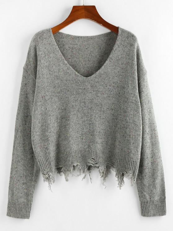 sale ZAFUL Frayed Hem Drop Shoulder Confetti Knit Sweater - SMOKEY GRAY M