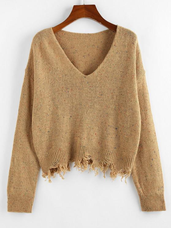 women's ZAFUL Frayed Hem Drop Shoulder Confetti Knit Sweater - KHAKI S