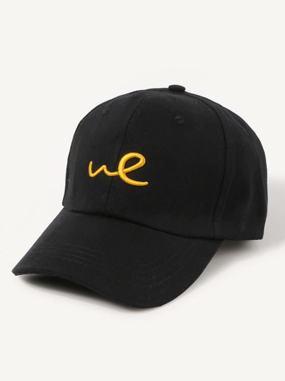 Embroidered Letter We Baseball Cap - أسود