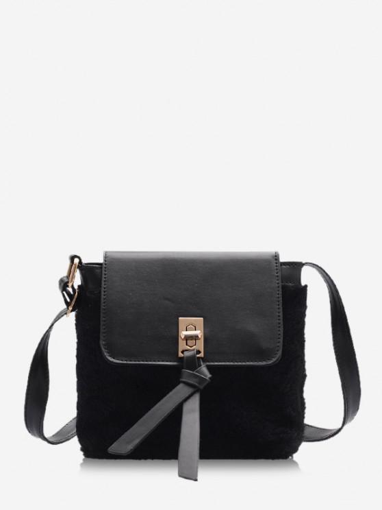 new Faux Fur Patchwork Crossbody Bag - BLACK