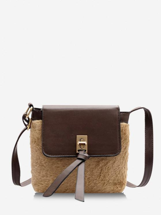 outfit Faux Fur Patchwork Crossbody Bag - BROWN BEAR