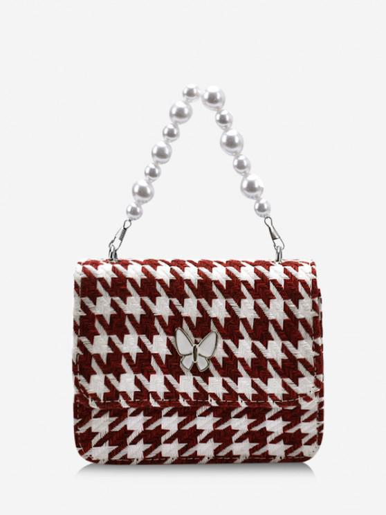 shop Butterfly Houndstooth Pattern Faux Pearl Bag - DEEP RED
