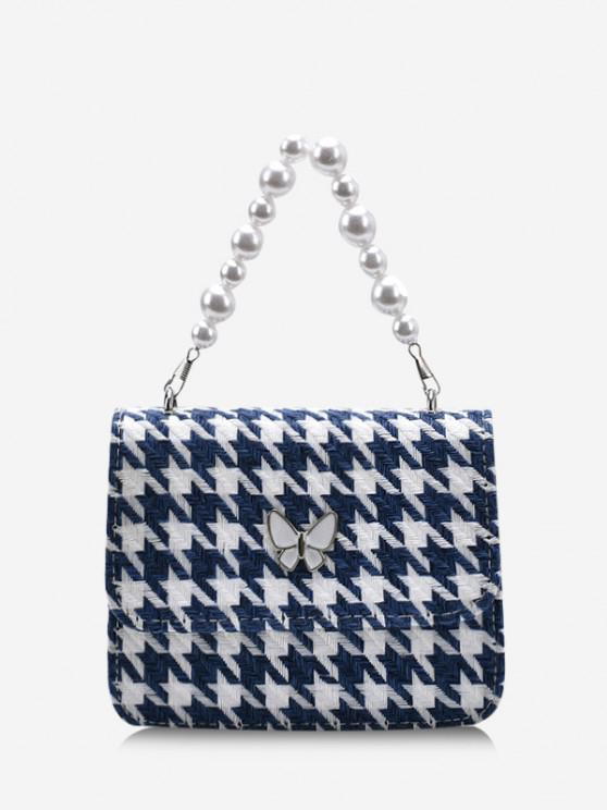 latest Butterfly Houndstooth Pattern Faux Pearl Bag - DEEP BLUE