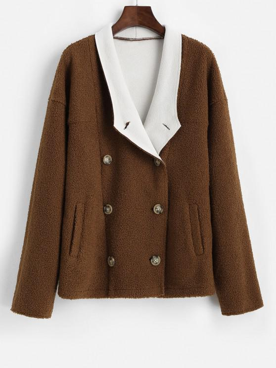ZAFUL Pockets Double Breasted Teddy Coat - اللون الأحمر الداكن XL
