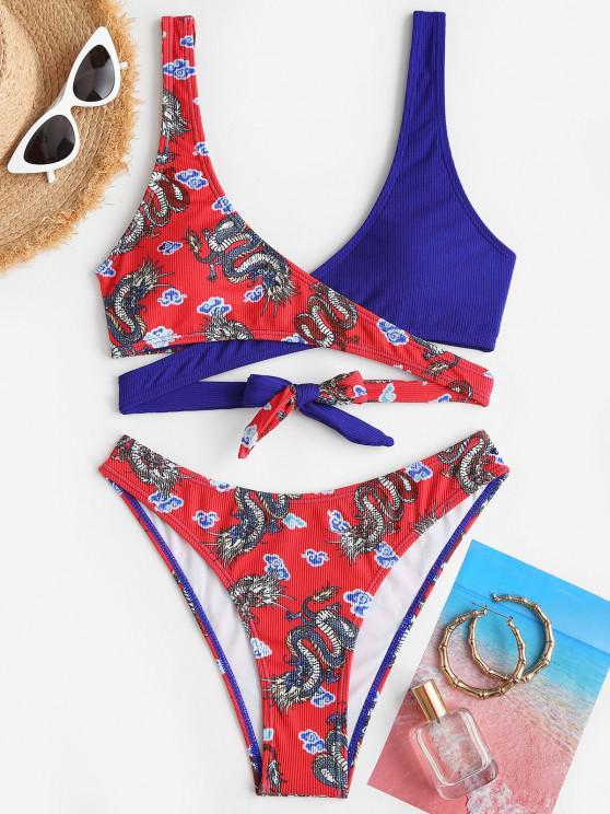 latest ZAFUL Ribbed Oriental Dragon Print Wrap Bikini Swimwear - LAVA RED L