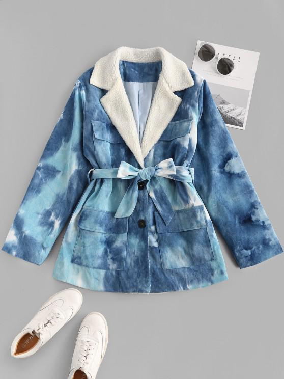 Tie Dye Faux Shearling Collar Belted Corduroy Jacket - أزرق M