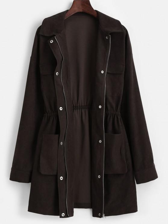 ZAFUL Snap Button Pockets Zip Up Long Coat - القهوة العميقة S