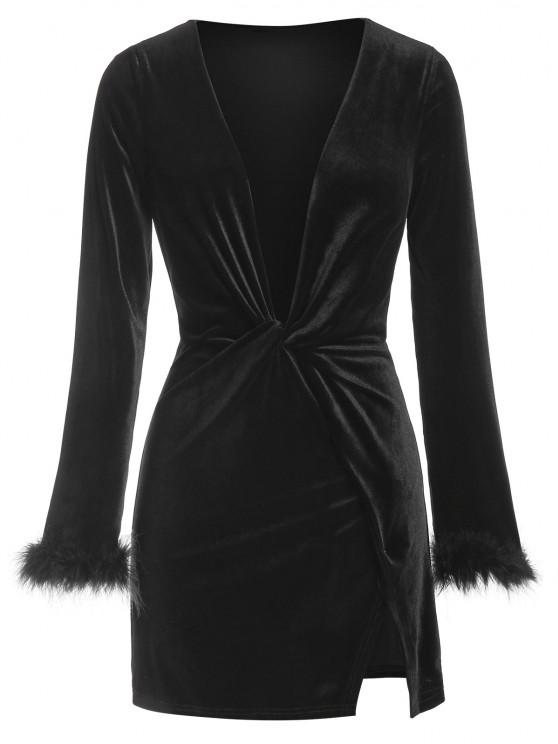 chic ZAFUL Plunge Neck Fluffy Cuff Velour Dress - BLACK L