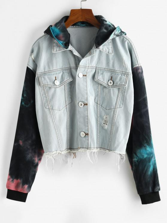 best Ripped Frayed Tie Dye Denim Combo Jacket - DENIM BLUE L