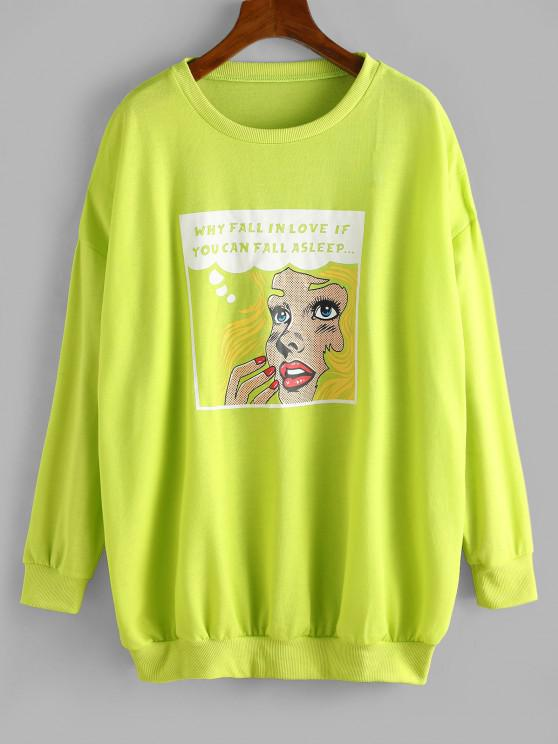 Crew Neck Graphic Front Oversize Sweatshirt - أخضر XL