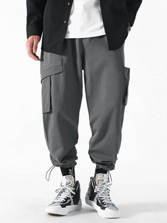 trendy Drawstring Ankle Patch Design Cargo Pants - GRAY M