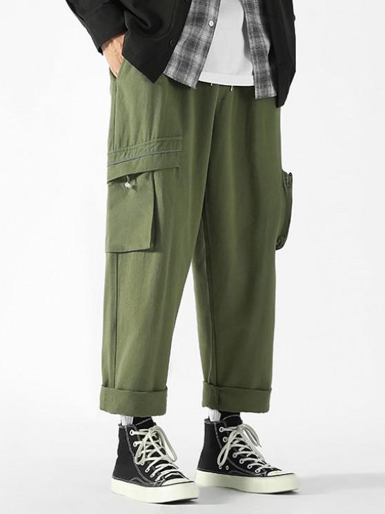 Drawstring Ankle Patch Design Cargo Pants - الجيش الأخضر XL