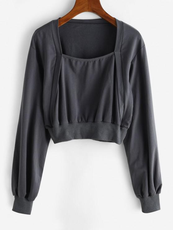 Ribbed Trim Square Neck Cropped Sweatshirt - الرمادي الداكن S