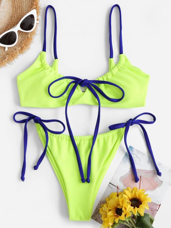 ZAFUL Strukturierte Kontrast Krawatte Seite Bikini Badebekleidung - Kartause S