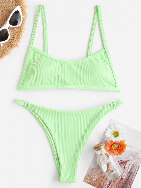 ZAFUL Gerippte Gepolsterte Tanga Bikini Badebekleidung - Grün S