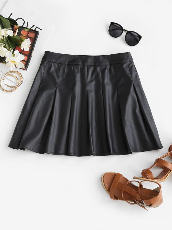 ladies ZAFUL Faux Leather Pleated Mini Skirt - BLACK S