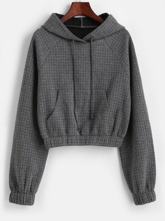fancy ZAFUL Raglan Sleeve Drawstring Front Pocket Hoodie - DARK GRAY S