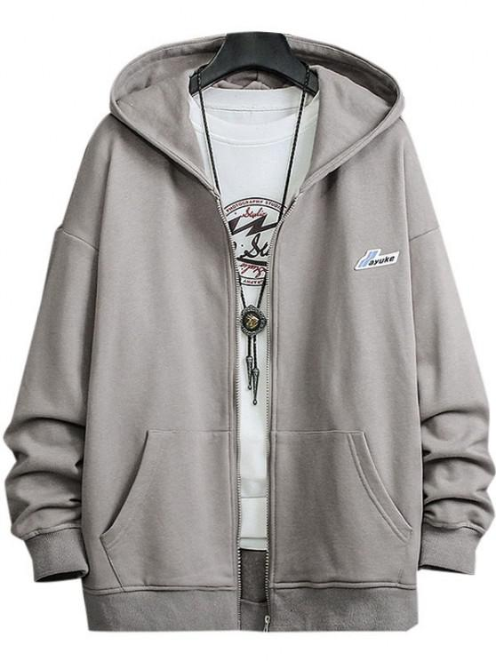 Letter Patched Pocket Zip Up Hooded Jacket - ضوء الكاكي 2XL