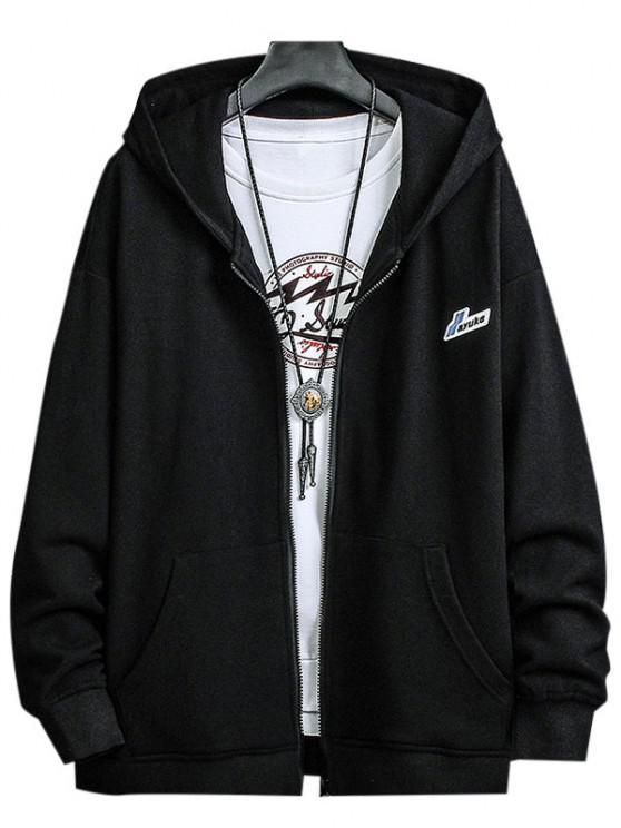 Letter Patched Pocket Zip Up Hooded Jacket - أسود L