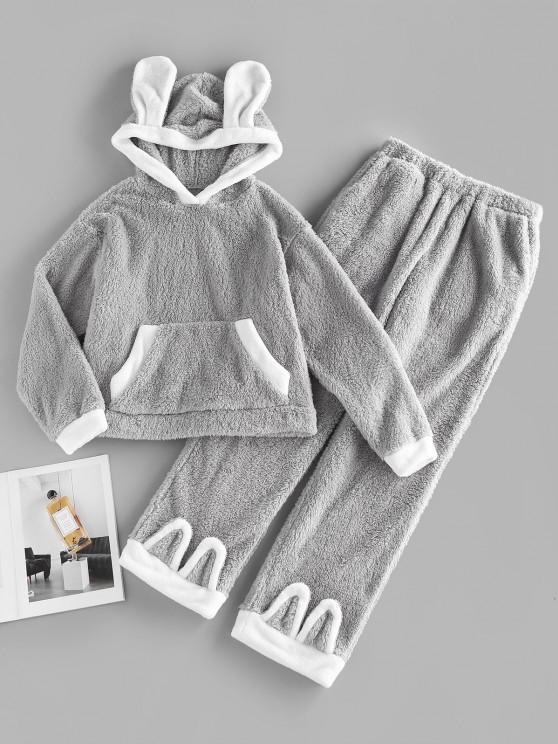 fancy ZAFUL Kangaroo Pocket Hooded Plush Colorblock Bunny Pajama Pants Set - DARK GRAY S