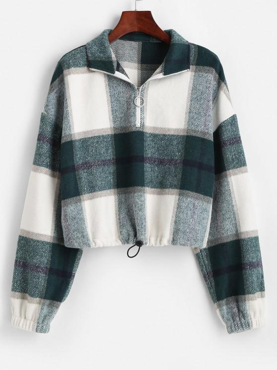 unique ZAFUL Plaid Half Zip Wool Blend Sweatshirt - GREEN XL