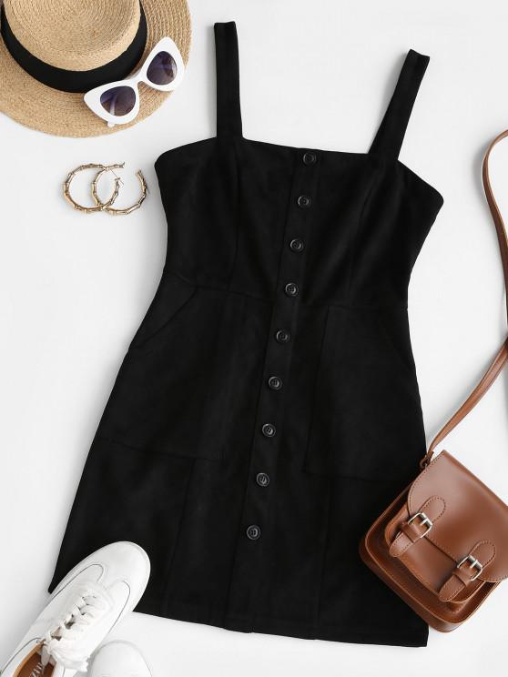 affordable ZAFUL Buttoned Faux Suede Bodycon Dress - BLACK M