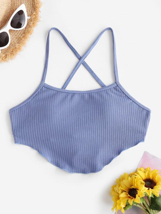 shops ZAFUL Ribbed Criss Cross Lettuce Crop Bikini Top - BLUE S