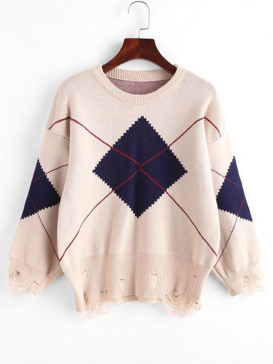Argyle Distressed Drop Shoulder Sweater - القهوة الخفيفة مقاس واحد
