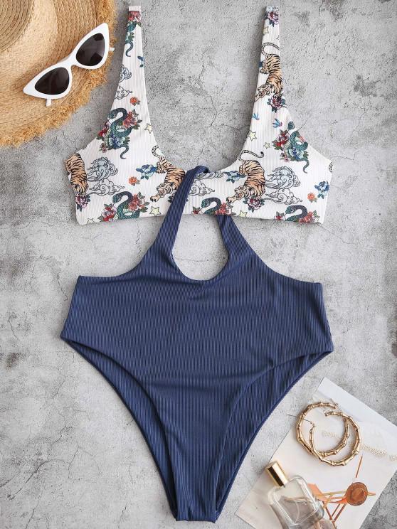 Costume da Bagno Bagno Leopardato con Scollo Profondo e Stampa a Tigre di ZAFUL - Profondo blu S