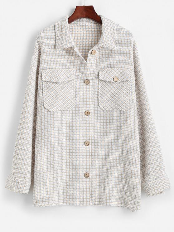 ZAFUL Flap Pockets Plaid Tweed Shacket - ازرق فاتح L