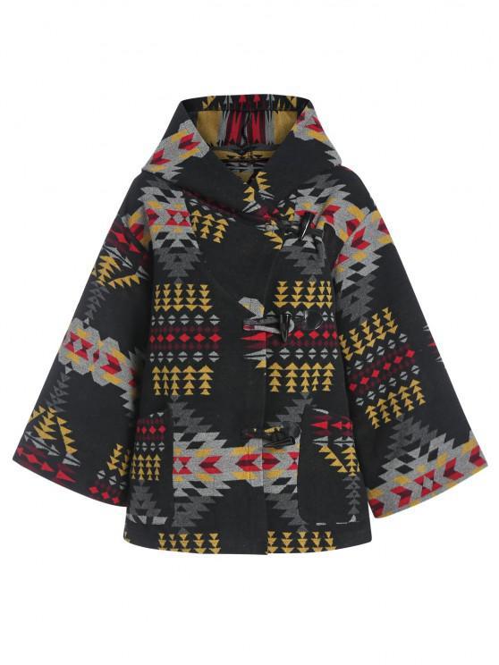 women ZAFUL Hooded Tribal Jacquard Wool Blend Coat - BLACK S