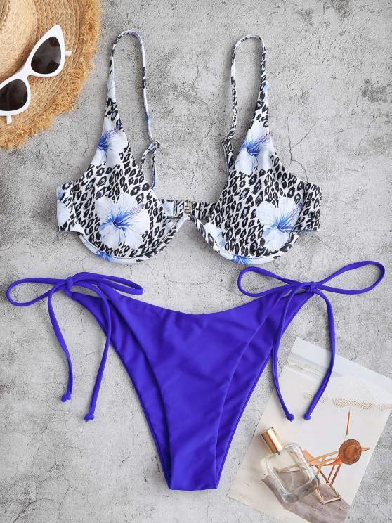 outfits ZAFUL Leopard Floral Tie Monowire Bikini Swimwear - BLUE L