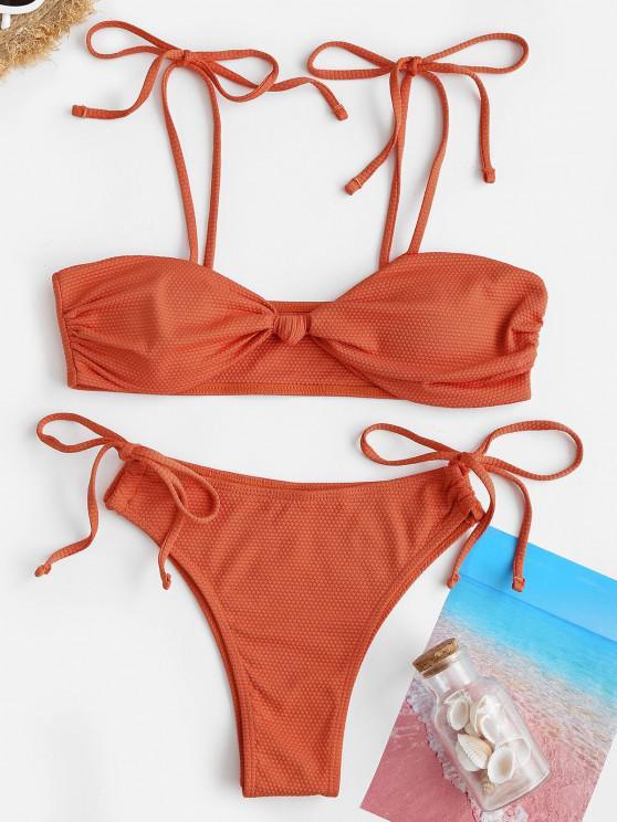 ZAFUL Verknoteter Strukturierte Krawatte Seite Tanga Bikini Badebekleidung - Orange S