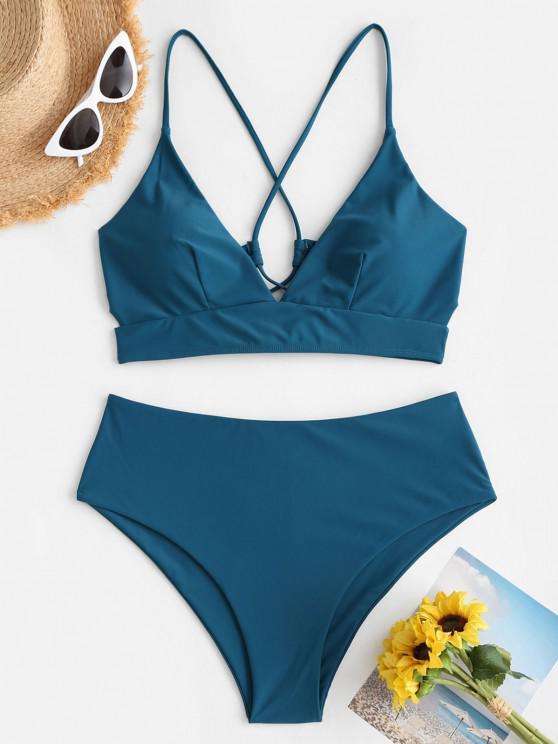 buy ZAFUL Plus Size Lace-up Cross High Waisted Bikini Swimwear - DEEP GREEN XXXL