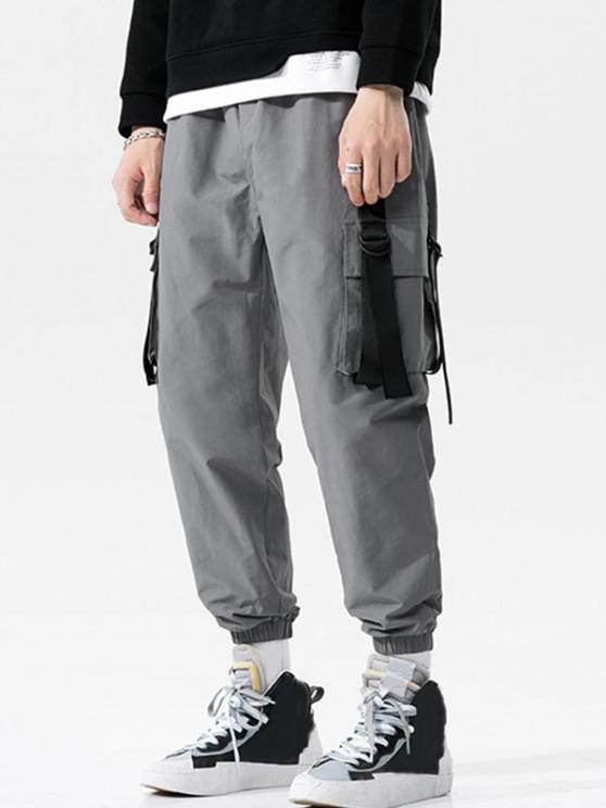 Pantalones de Carga con Correa Elástica de Hebilla de Cordón - Gris Oscuro XS