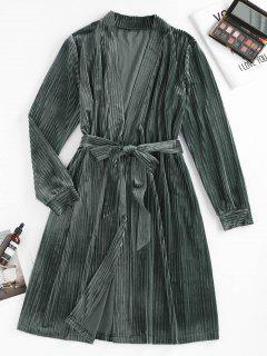 ZAFUL Ribbed Belted Pajama Robe - Slate Gray M