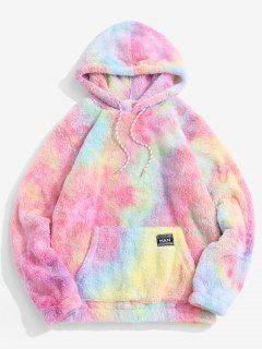 Applique Detail Tie Dye Pattern Fluffy Hoodie - Light Pink S