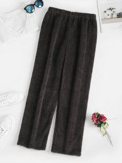 High Waisted Fluffy Straight Pants - Dark Gray M
