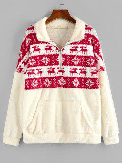 ZAFUL Christmas Elk Snowflake Half Zip Fluffy Sweatshirt - Light Coffee M