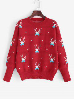 Christmas Elk Drop Shoulder Sweater - Red