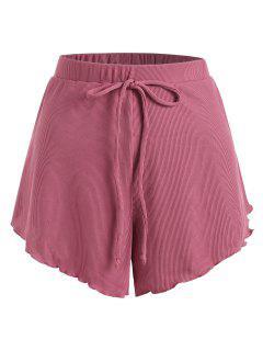 ZAFUL Plus Size Ribbed Bowknot Lettuce Trim Tulip Swim Shorts - Light Pink Xxl