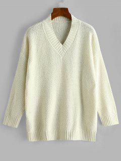Drop Shoulder V Neck Slouchy Sweater - White