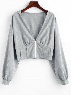 ZAFUL Plunge Front Drop Shoulder Zip Up Corset Hoodie - Dark Gray S