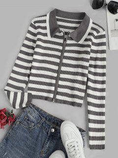 Contrast Stripes Ribbed Zip Up Cardigan - Multi-a
