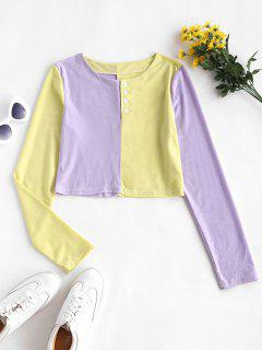Button Front Two Tone Baby Tee - Yellow L