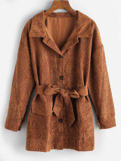 Button Up Belted Flap Detail Corduroy Shacket - Coffee M