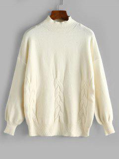 High Neck Cable Knit Drop Shoulder Sweater - White