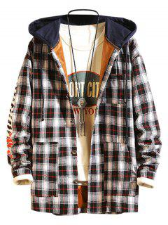 Plaid Fleece Colorblock Hooded Shirt Jacket - Black L