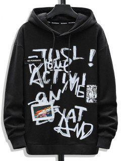 Sweat à Capuche Lettre Graffitis Graphique Imprimé - Noir Xs